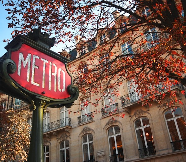 a Metro sign surrounded by autumn leaves