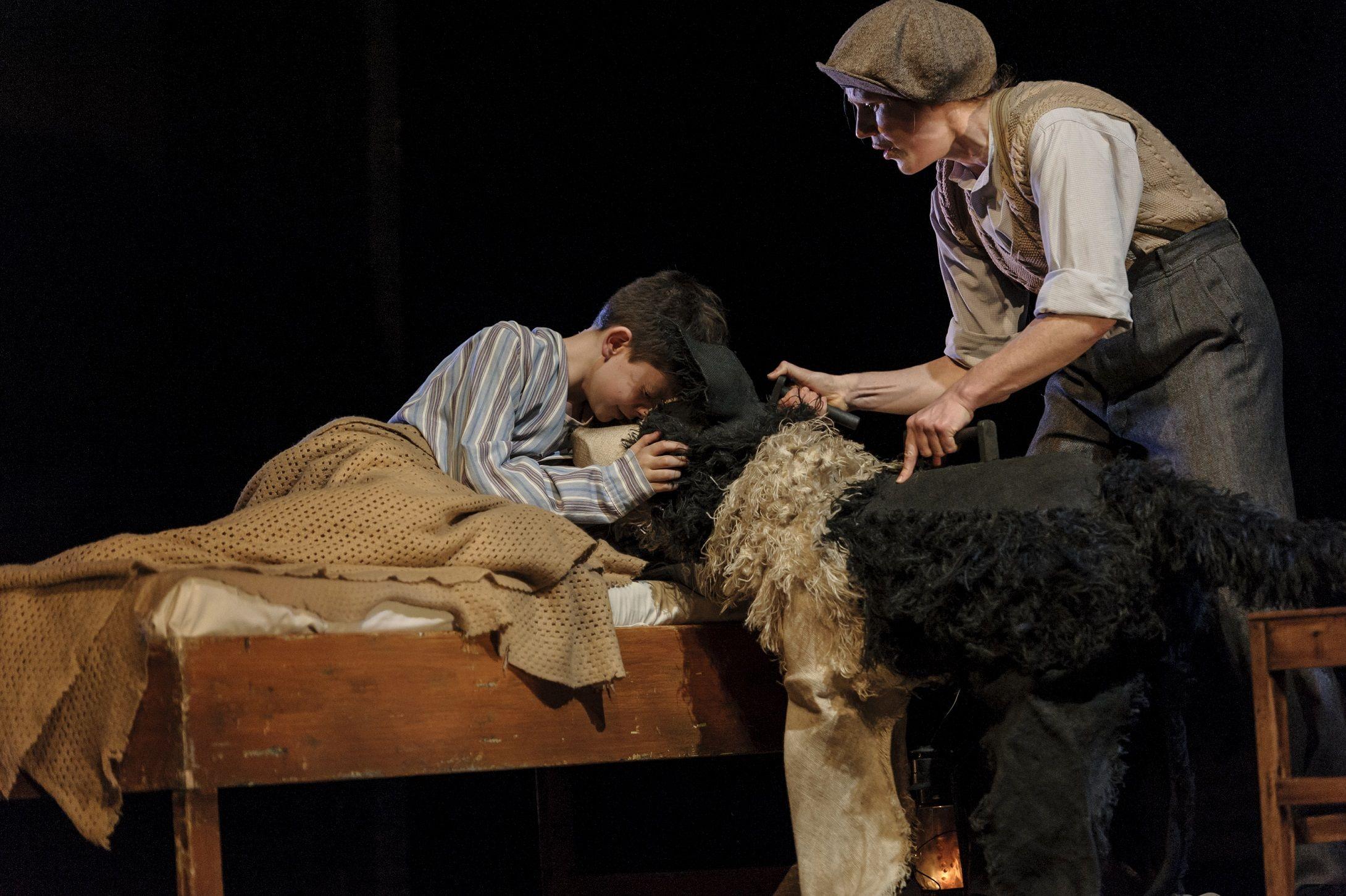 Elisa de Grey (Puppeteer for Sammy the dog) in Goodnight Mister Tom 2015 Credit Dan Tsantilis
